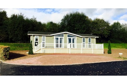 Bespoke Shire Home 40x20 with decking on 12 month holiday plot at Lakeside Country Park
